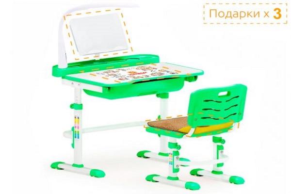 Комплект парта и стульчик Mealux EVO-17 (с лампой) купить в салоне-студии мебели Барселона mnogospalen.ru много спален мебель Италии классические современные