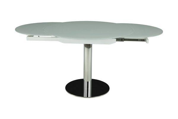 Стол MK-7522-WT трансформер стеклянный  Белый купить в салоне-студии мебели Барселона mnogospalen.ru много спален мебель Италии классические современные